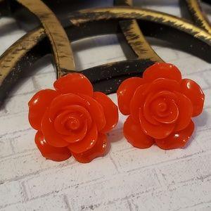Acrylic Rose Post Back Earrings